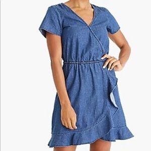 Jcrew Mercantile Chambray ruffle faux-wrap dress